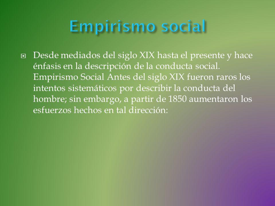 Desde mediados del siglo XIX hasta el presente y hace énfasis en la descripción de la conducta social. Empirismo Social Antes del siglo XIX fueron rar