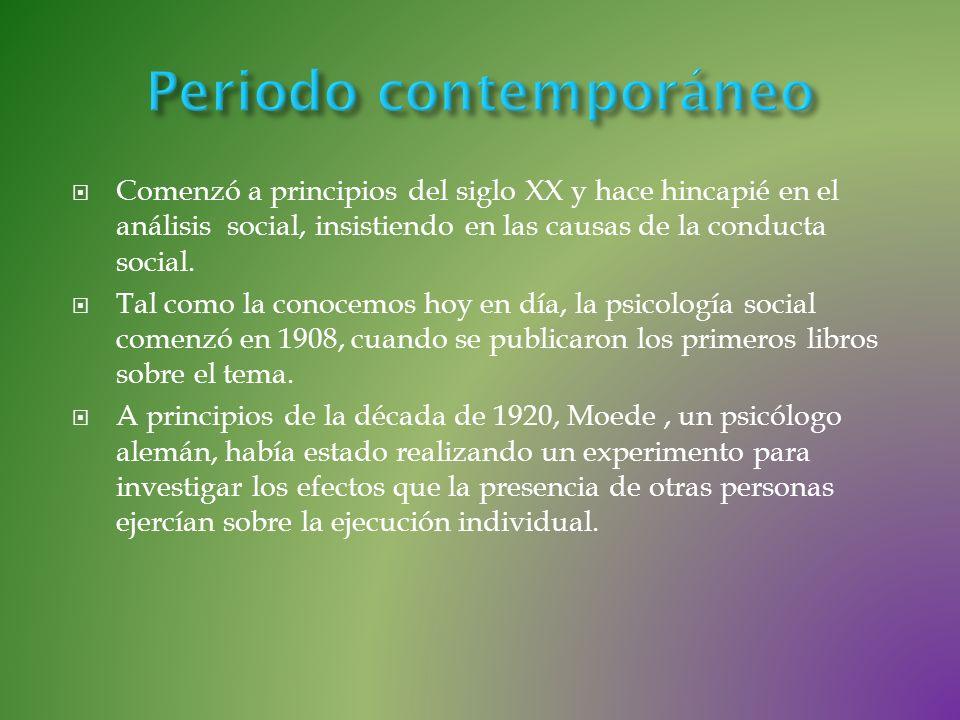Comenzó a principios del siglo XX y hace hincapié en el análisis social, insistiendo en las causas de la conducta social. Tal como la conocemos hoy en