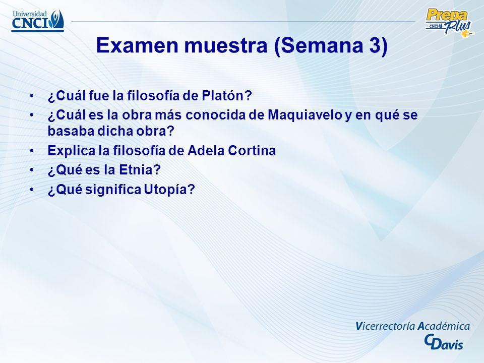 Examen muestra (Semana 3) ¿Cuál fue la filosofía de Platón.