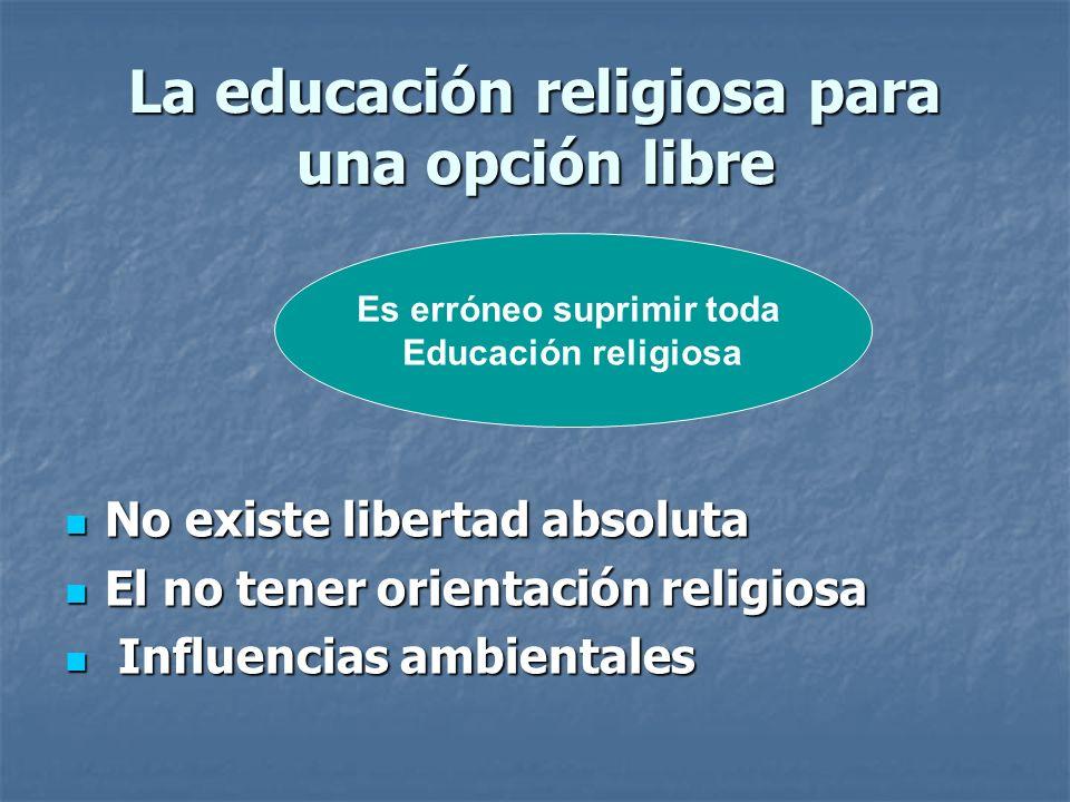 La educación religiosa para una opción libre No existe libertad absoluta No existe libertad absoluta El no tener orientación religiosa El no tener ori