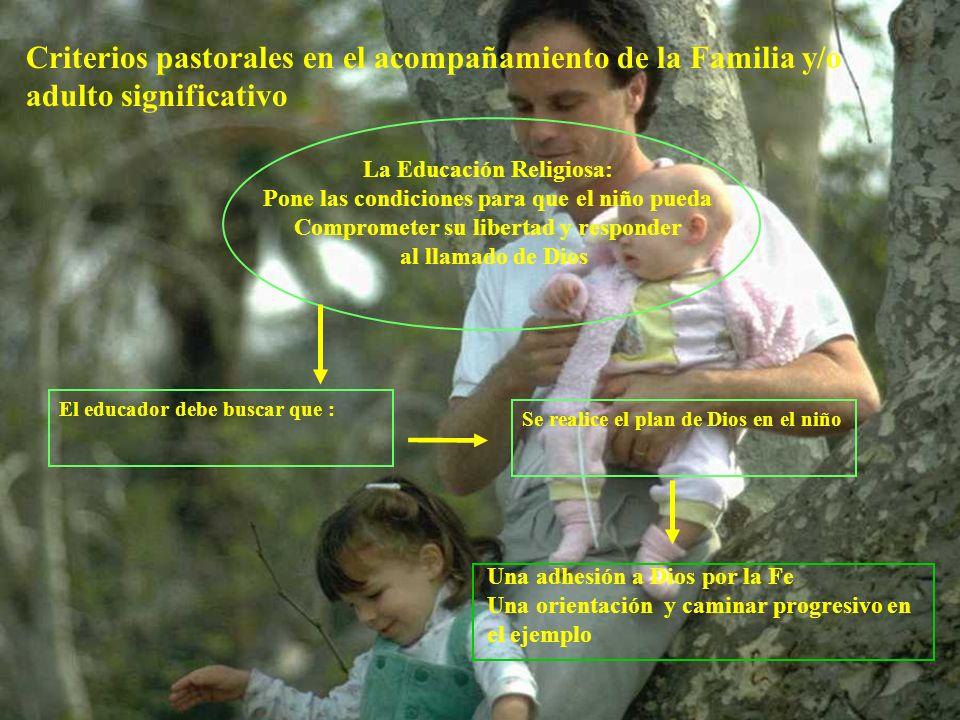 Criterios pastorales en el acompañamiento de la Familia y/o adulto significativo La Educación Religiosa: Pone las condiciones para que el niño pueda C