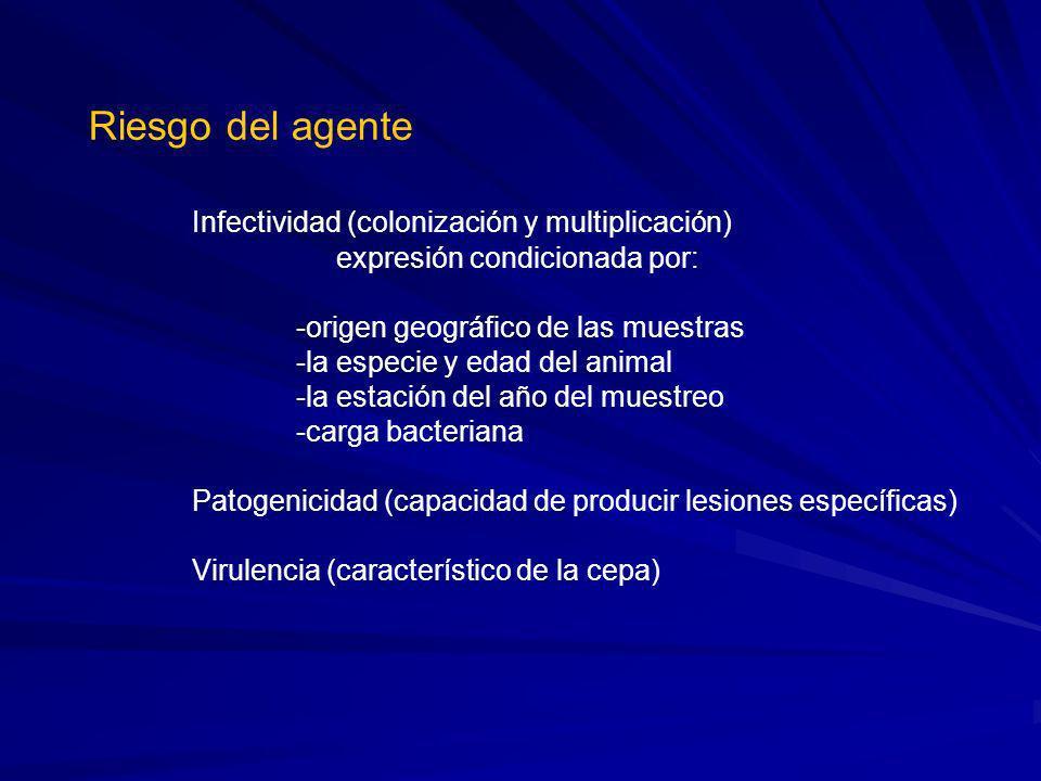 Riesgo del agente Infectividad (colonización y multiplicación) expresión condicionada por: -origen geográfico de las muestras -la especie y edad del a