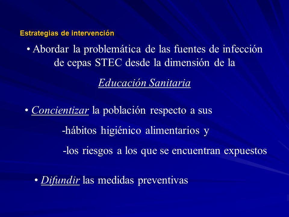 Difundir las medidas preventivas Estrategias de intervención Abordar la problemática de las fuentes de infección de cepas STEC desde la dimensión de l