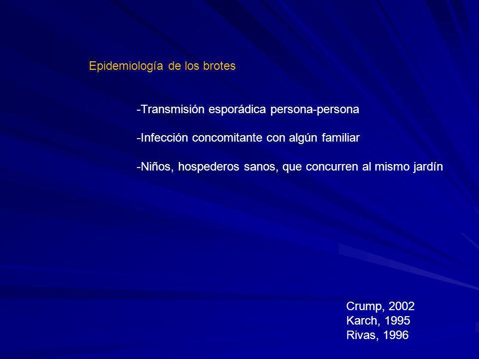 Epidemiología de los brotes -Transmisión esporádica persona-persona -Infección concomitante con algún familiar -Niños, hospederos sanos, que concurren