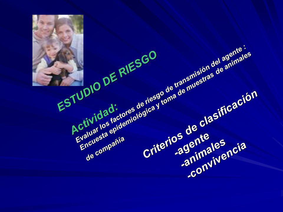 ESTUDIO DE RIESGO Actividad: Evaluar los factores de riesgo de transmisión del agente : Encuesta epidemiológica y toma de muestras de animales de comp