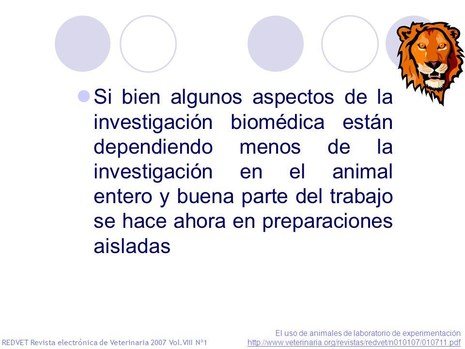 Si bien algunos aspectos de la investigación biomédica están dependiendo menos de la investigación en el animal entero y buena parte del trabajo se ha