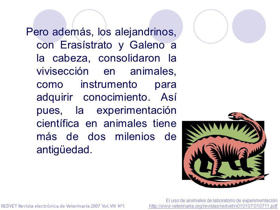 Pero además, los alejandrinos, con Erasístrato y Galeno a la cabeza, consolidaron la vivisección en animales, como instrumento para adquirir conocimie