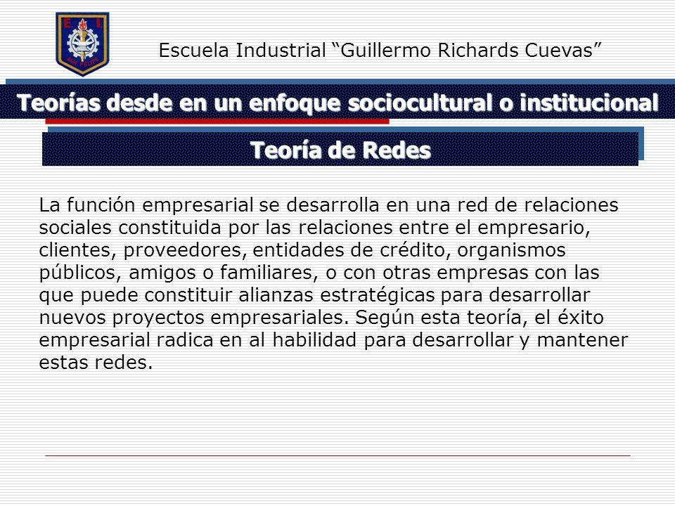 Teorías desde en un enfoque sociocultural o institucional Escuela Industrial Guillermo Richards Cuevas La función empresarial se desarrolla en una red