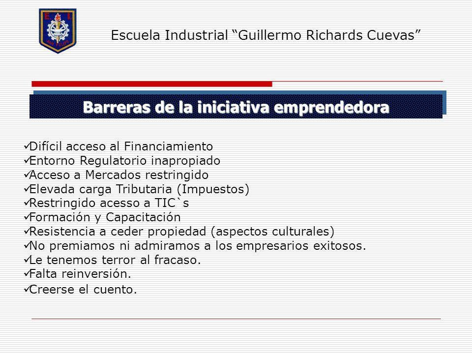 Barreras de la iniciativa emprendedora Escuela Industrial Guillermo Richards Cuevas Difícil acceso al Financiamiento Entorno Regulatorio inapropiado A