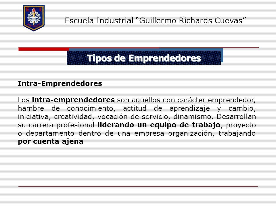 Tipos de Emprendedores Escuela Industrial Guillermo Richards Cuevas Intra-Emprendedores Los intra-emprendedores son aquellos con carácter emprendedor,