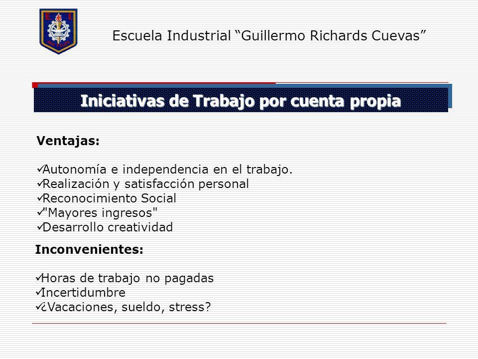 Iniciativas de Trabajo por cuenta propia Escuela Industrial Guillermo Richards Cuevas Ventajas: Autonomía e independencia en el trabajo. Realización y