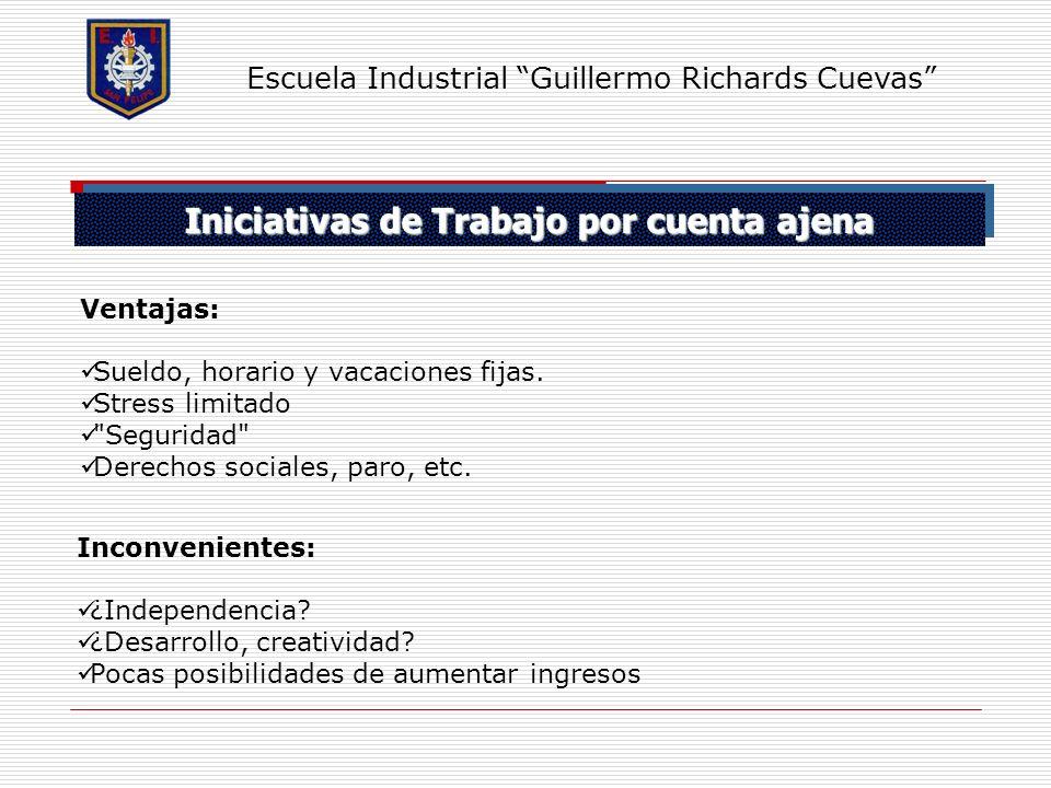 Iniciativas de Trabajo por cuenta ajena Escuela Industrial Guillermo Richards Cuevas Ventajas: Sueldo, horario y vacaciones fijas. Stress limitado