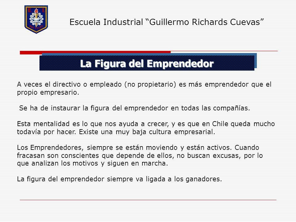 La Figura del Emprendedor Escuela Industrial Guillermo Richards Cuevas A veces el directivo o empleado (no propietario) es más emprendedor que el prop
