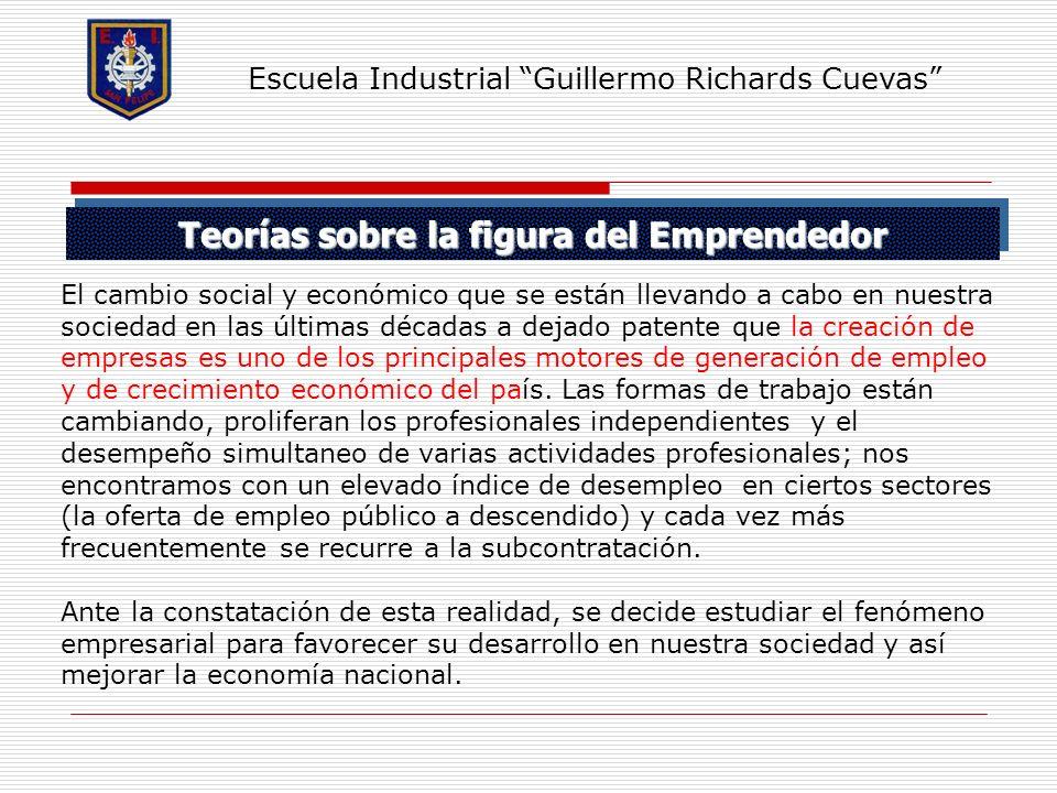 Teorías sobre la figura del Emprendedor Escuela Industrial Guillermo Richards Cuevas El cambio social y económico que se están llevando a cabo en nues
