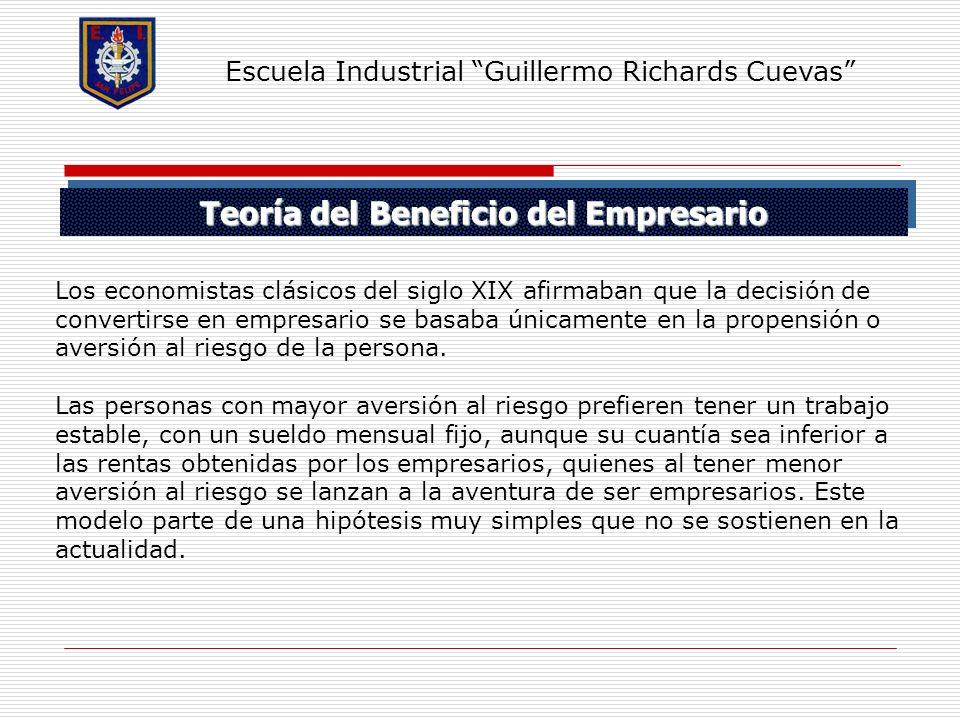 Teoría del Beneficio del Empresario Escuela Industrial Guillermo Richards Cuevas Los economistas clásicos del siglo XIX afirmaban que la decisión de c