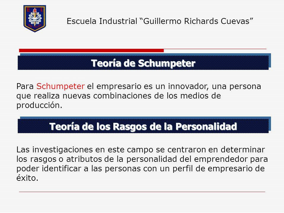 Teoría de Schumpeter Escuela Industrial Guillermo Richards Cuevas Para Schumpeter el empresario es un innovador, una persona que realiza nuevas combin