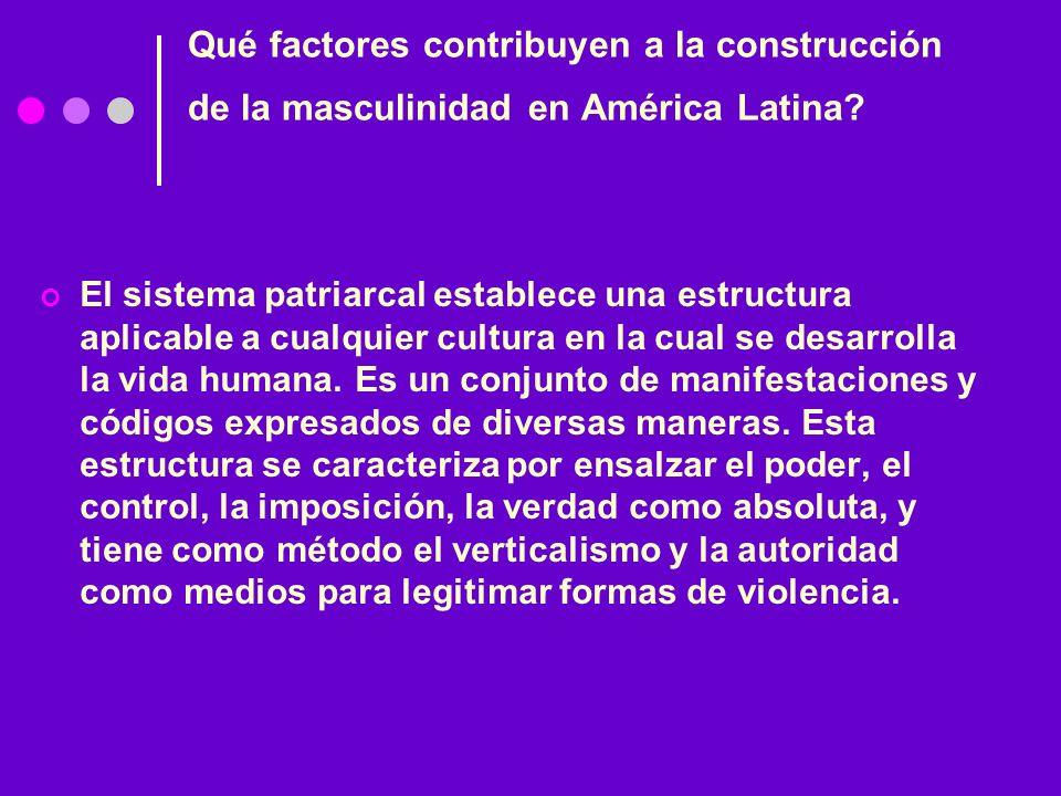 Qué factores contribuyen a la construcción de la masculinidad en América Latina? El sistema patriarcal establece una estructura aplicable a cualquier