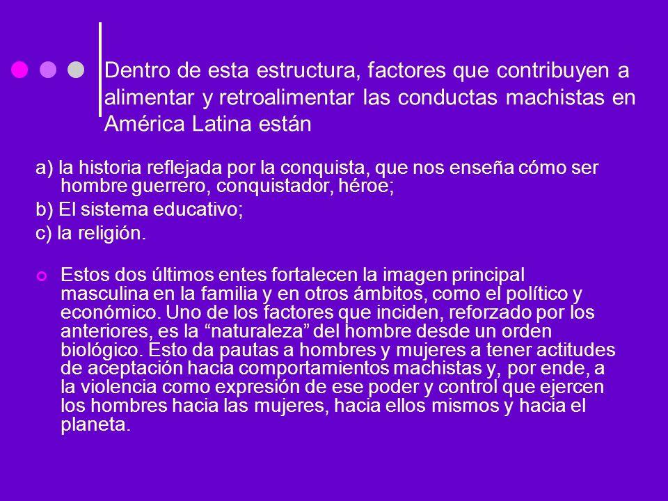 Dentro de esta estructura, factores que contribuyen a alimentar y retroalimentar las conductas machistas en América Latina están a) la historia reflej