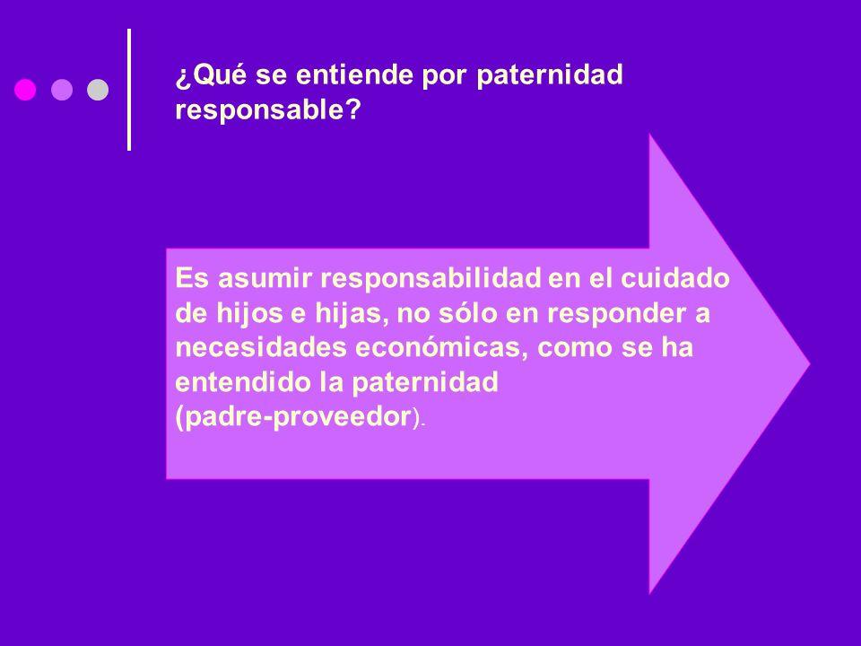 Es asumir responsabilidad en el cuidado de hijos e hijas, no sólo en responder a necesidades económicas, como se ha entendido la paternidad (padre-pro