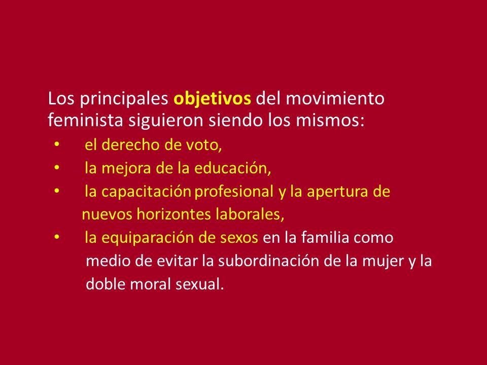 Los principales objetivos del movimiento feminista siguieron siendo los mismos: el derecho de voto, la mejora de la educación, la capacitación profesi