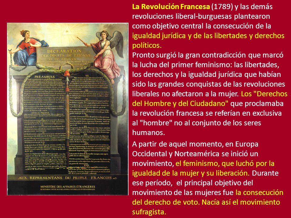 La Revolución Francesa (1789) y las demás revoluciones liberal-burguesas plantearon como objetivo central la consecución de la igualdad jurídica y de las libertades y derechos políticos.