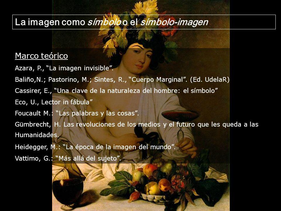 Marco teórico Azara, P., La imagen invisible. Baliño,N.; Pastorino, M.; Sintes, R., Cuerpo Marginal. (Ed. UdelaR) Cassirer, E., Una clave de la natura