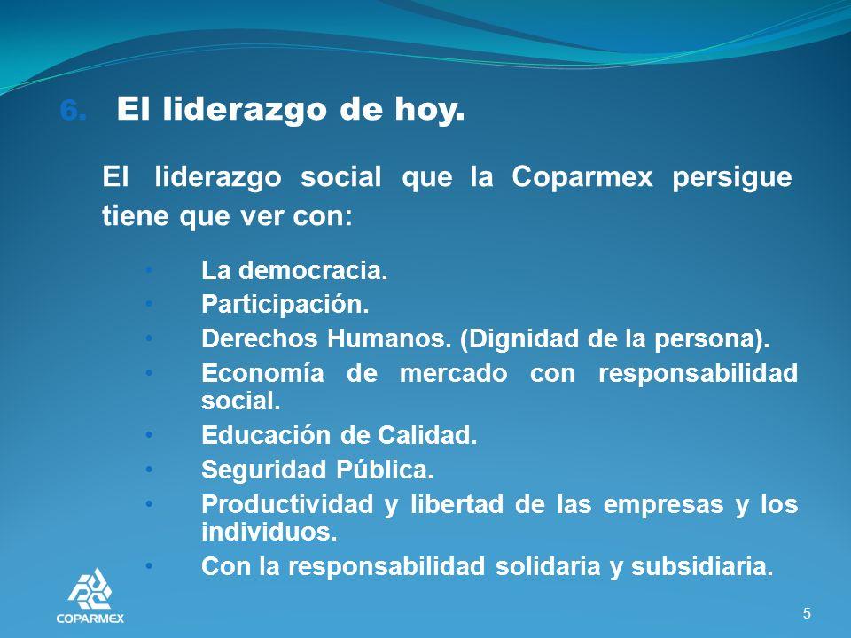 7.El líder de hoy que la Coparmex requiere. Basado en los principios y valores.
