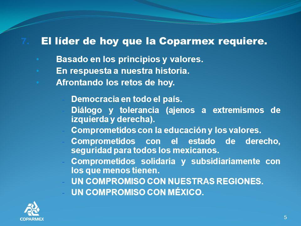 7. El líder de hoy que la Coparmex requiere. Basado en los principios y valores.