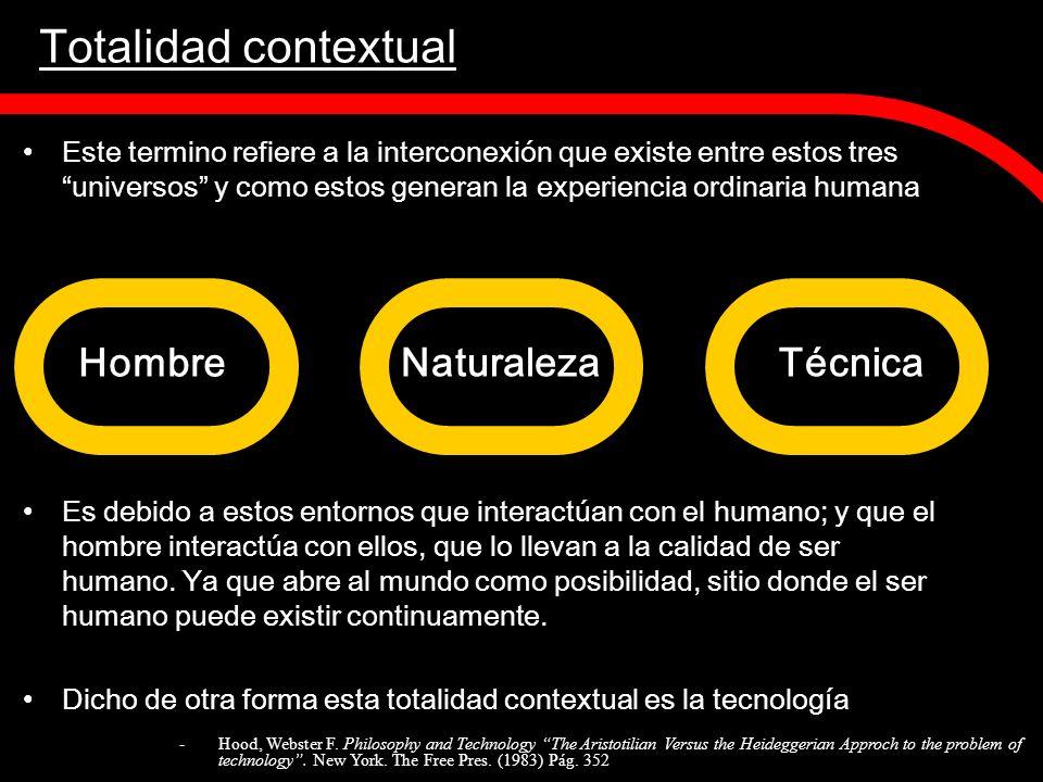 Totalidad contextual Este termino refiere a la interconexión que existe entre estos tres universos y como estos generan la experiencia ordinaria human
