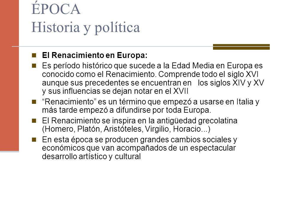 ÉPOCA Historia y política El Renacimiento en Europa: Es período histórico que sucede a la Edad Media en Europa es conocido como el Renacimiento. Compr