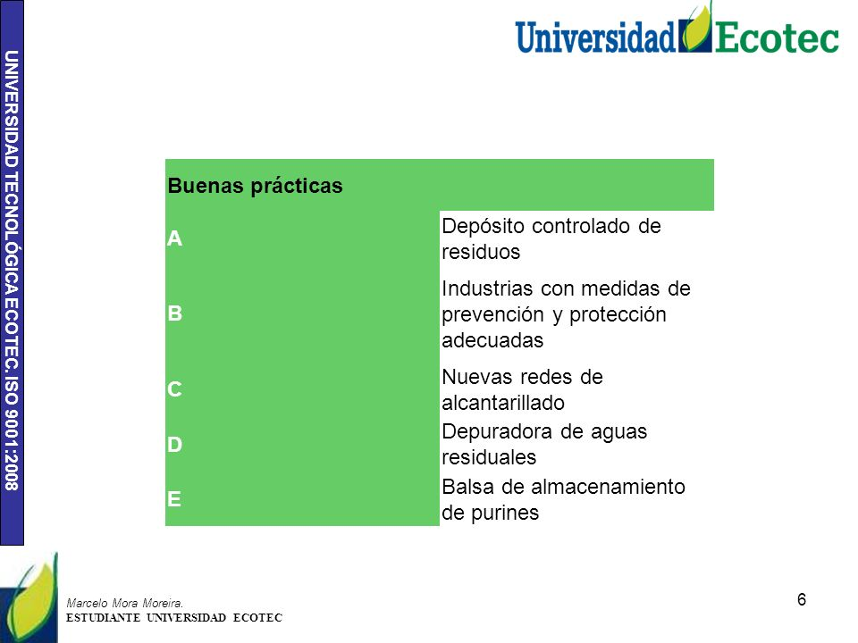 UNIVERSIDAD TECNOLÓGICA ECOTEC. ISO 9001:2008 6 Marcelo Mora Moreira. ESTUDIANTE UNIVERSIDAD ECOTEC Buenas prácticas A Depósito controlado de residuos
