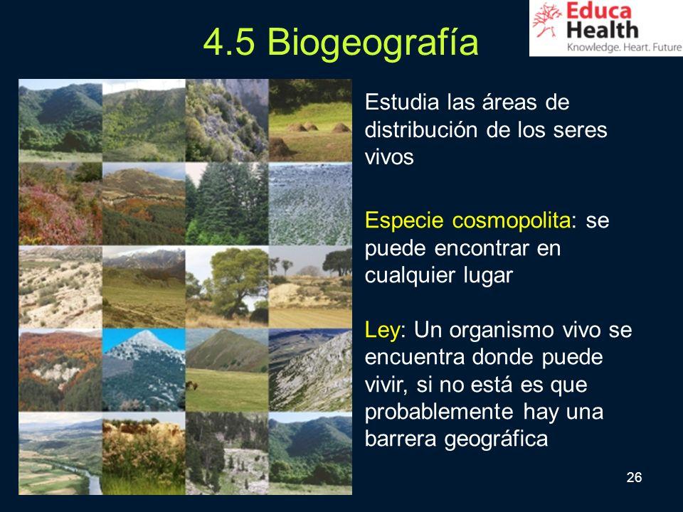 26 4.5 Biogeografía Especie cosmopolita: se puede encontrar en cualquier lugar Ley: Un organismo vivo se encuentra donde puede vivir, si no está es qu