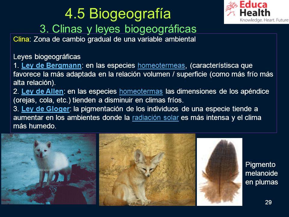 29 4.5 Biogeografía 3. Clinas y leyes biogeográficas Clina: Zona de cambio gradual de una variable ambiental Leyes biogeográficas 1. Ley de Bergmann: