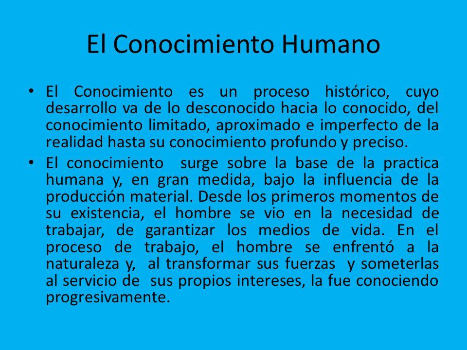 El Conocimiento Humano El Conocimiento es un proceso histórico, cuyo desarrollo va de lo desconocido hacia lo conocido, del conocimiento limitado, apr