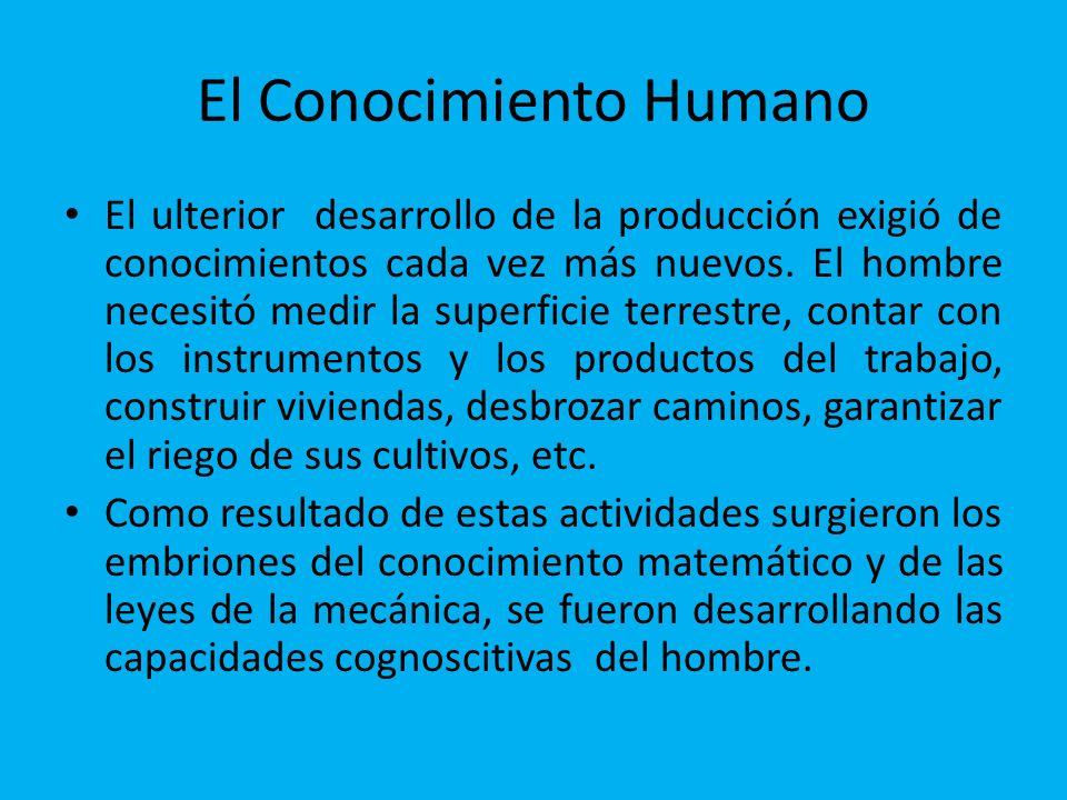 El Conocimiento Humano El ulterior desarrollo de la producción exigió de conocimientos cada vez más nuevos. El hombre necesitó medir la superficie ter