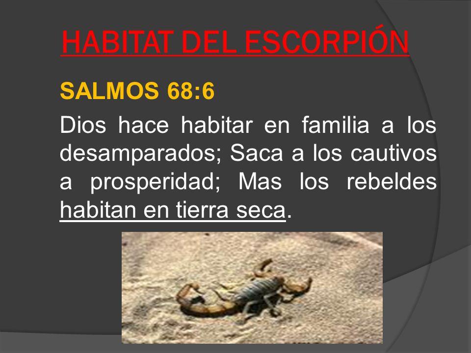 HABITAT DEL ESCORPIÓN SALMOS 68:6 Dios hace habitar en familia a los desamparados; Saca a los cautivos a prosperidad; Mas los rebeldes habitan en tier
