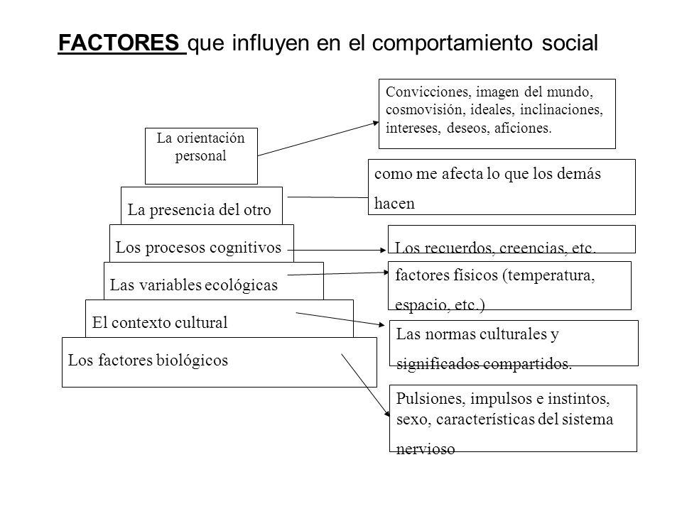 Los factores biológicos El contexto cultural Las variables ecológicas Los procesos cognitivos La presencia del otro como me afecta lo que los demás ha