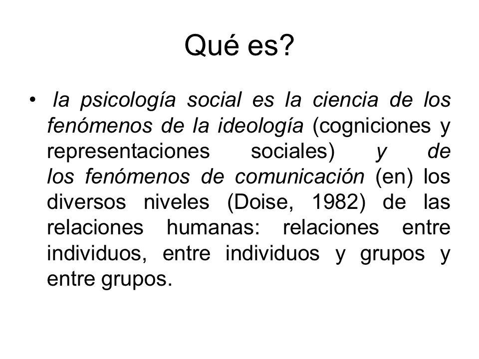 Qué es? la psicología social es la ciencia de los fenómenos de la ideología (cogniciones y representaciones sociales) y de los fenómenos de comunicaci