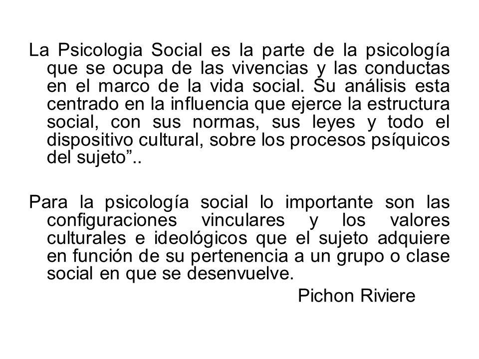 La Psicologia Social es la parte de la psicología que se ocupa de las vivencias y las conductas en el marco de la vida social. Su análisis esta centra