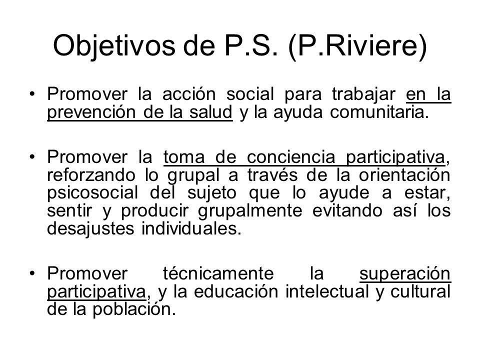 Objetivos de P.S. (P.Riviere) Promover la acción social para trabajar en la prevención de la salud y la ayuda comunitaria. Promover la toma de concien