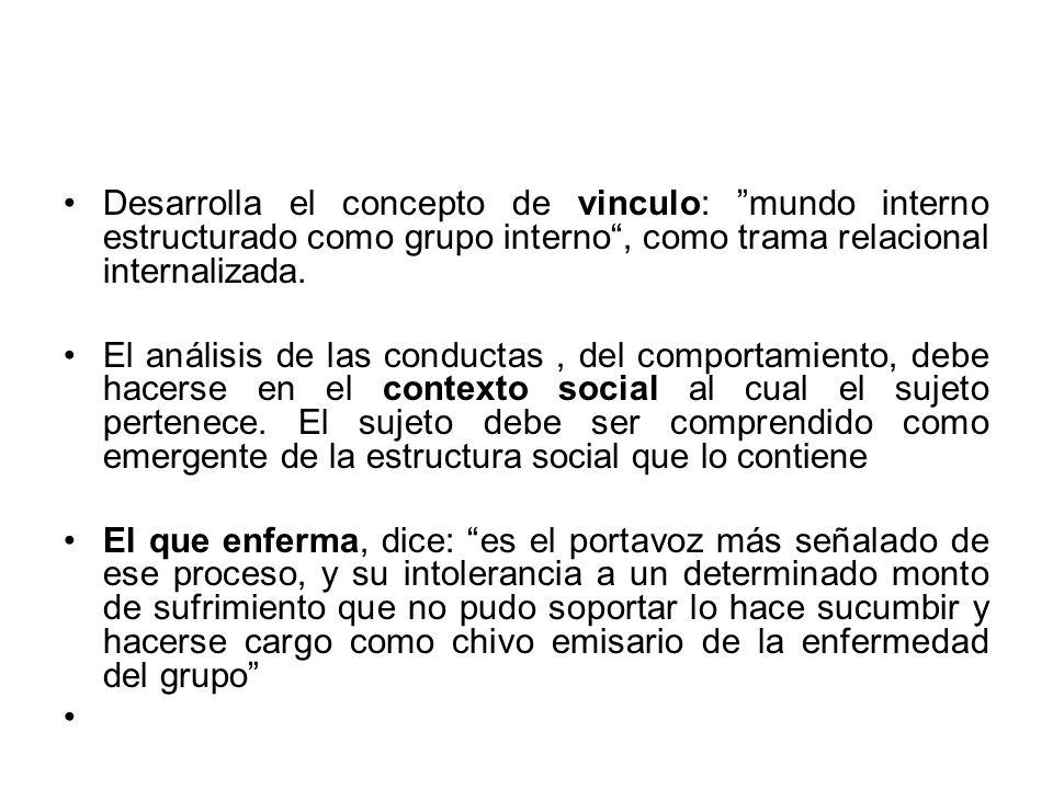 Desarrolla el concepto de vinculo: mundo interno estructurado como grupo interno, como trama relacional internalizada. El análisis de las conductas, d