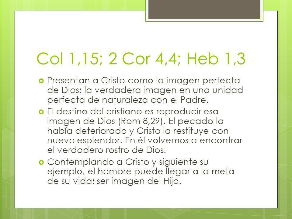 Col 1,15; 2 Cor 4,4; Heb 1,3 Presentan a Cristo como la imagen perfecta de Dios: la verdadera imagen en una unidad perfecta de naturaleza con el Padre