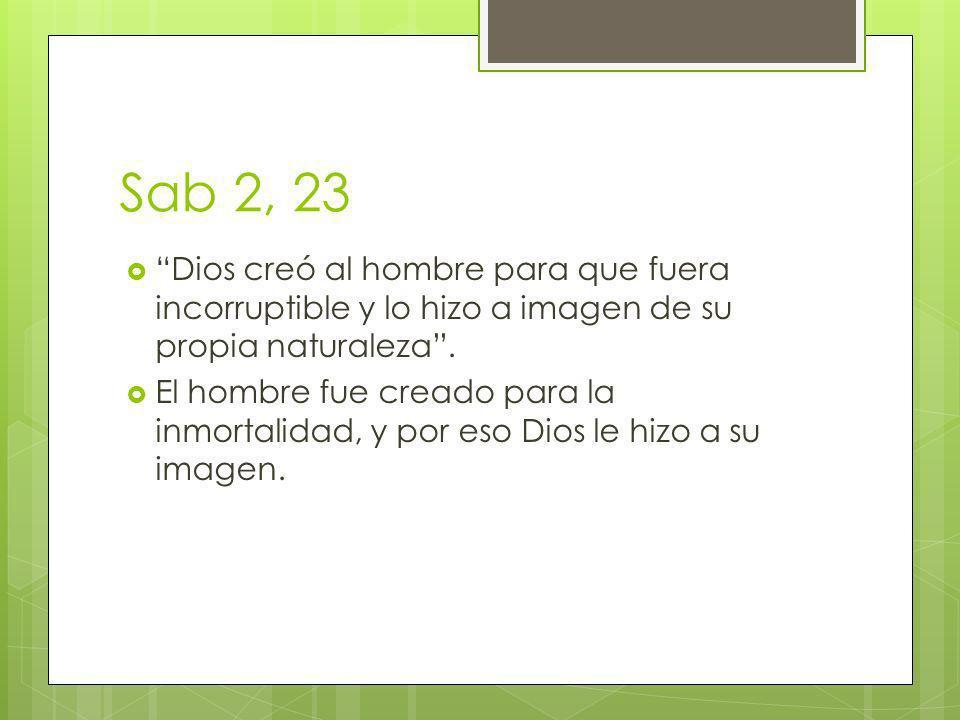Sab 2, 23 Dios creó al hombre para que fuera incorruptible y lo hizo a imagen de su propia naturaleza. El hombre fue creado para la inmortalidad, y po