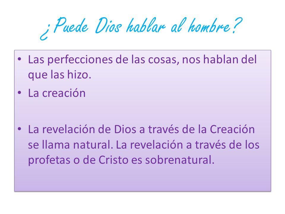 ¿Puede Dios hablar al hombre? Las perfecciones de las cosas, nos hablan del que las hizo. La creación La revelación de Dios a través de la Creación se