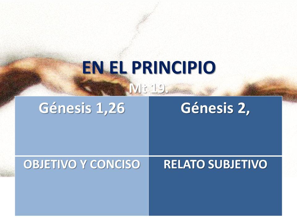 EN EL PRINCIPIO Mt 19. Génesis 1,26 Génesis 2, OBJETIVO Y CONCISO RELATO SUBJETIVO
