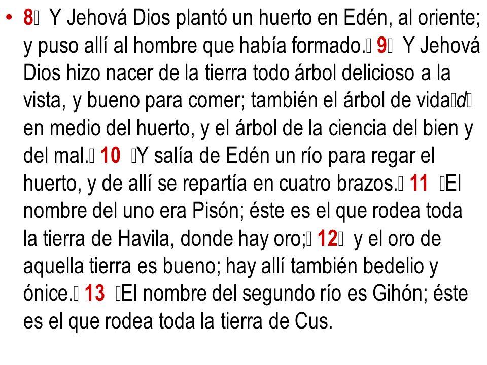 8 Y Jehová Dios plantó un huerto en Edén, al oriente; y puso allí al hombre que había formado. 9 Y Jehová Dios hizo nacer de la tierra todo árbol deli