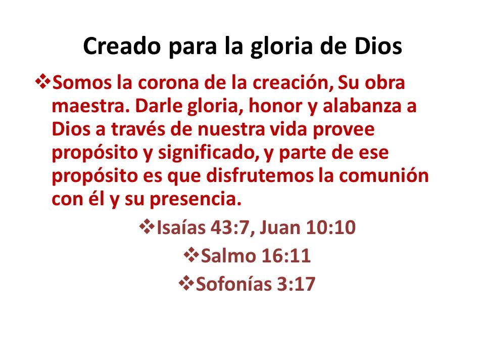 Creado a imagen de Dios Somos la única parte de la creación creada a imagen de Dios, y salimos de Dios mismo; no le habló al agua ni la tierra, sino que habló a sí mismo.