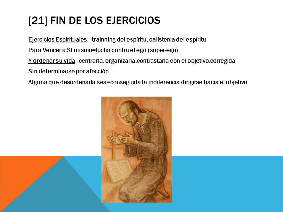 [21] FIN DE LOS EJERCICIOS Ejercicios Espirituales= trainning del espíritu, calistenia del espíritu Para Vencer a Sí mismo=lucha contra el ego (super-