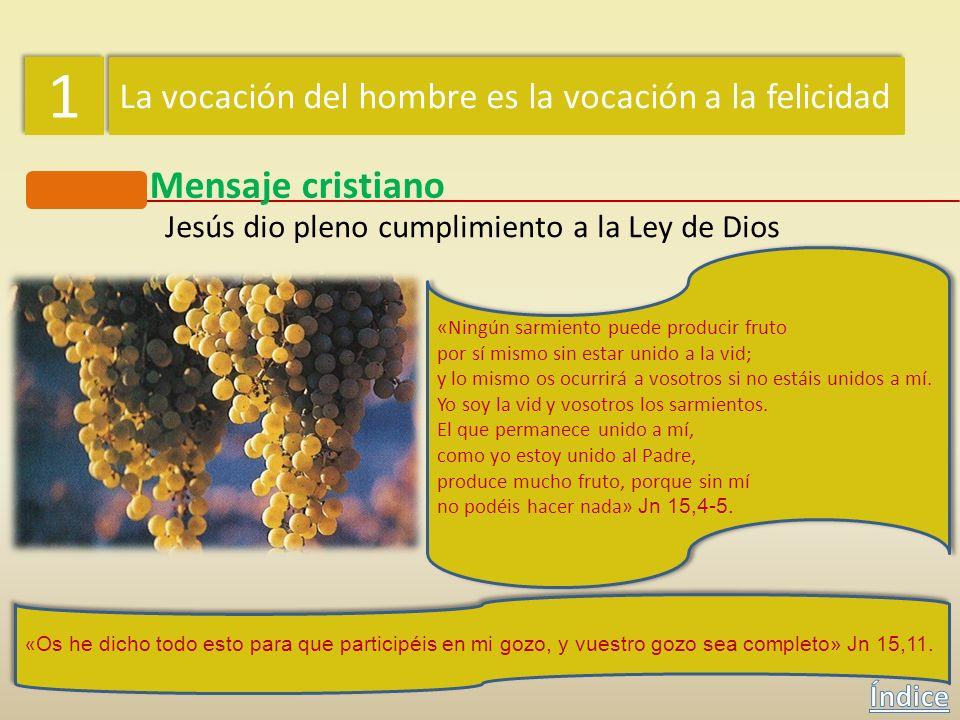 1 1 La vocación del hombre es la vocación a la felicidad Mensaje cristiano Jesús dio pleno cumplimiento a la Ley de Dios Para vivir el mandato del amo