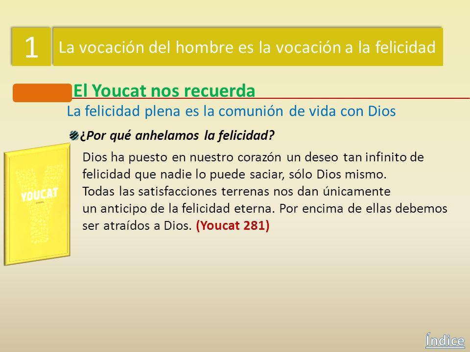 1 1 La vocación del hombre es la vocación a la felicidad El Catecismo nos recuerda La felicidad plena es la comunión de vida con Dios Dios ha puesto e